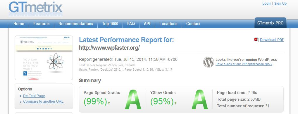 GTmetrix performance report for WpFASTER.org generated on 9/15/2014.