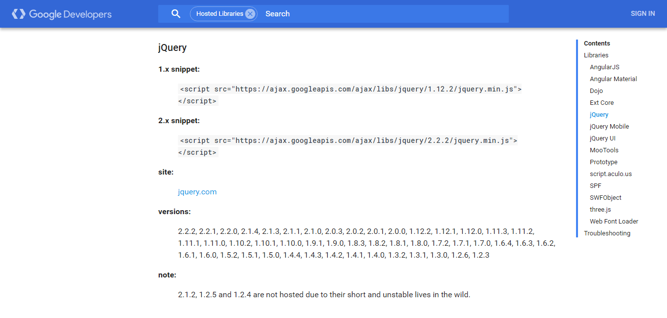 google jquery hosted library
